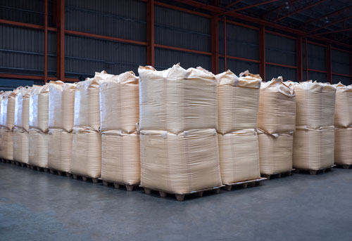 Several 1 tonne bags of bulk chemicals