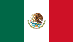 Flag of Mexico - is a vertical tricolor of green, white, and red with the national coat of arms charged in the centre of the white stripe.