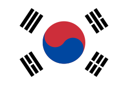Flag of South Korea -  has three parts: a white rectangular background, a red and blue Taegeuk in its center, and four black trigrams one toward each corner.
