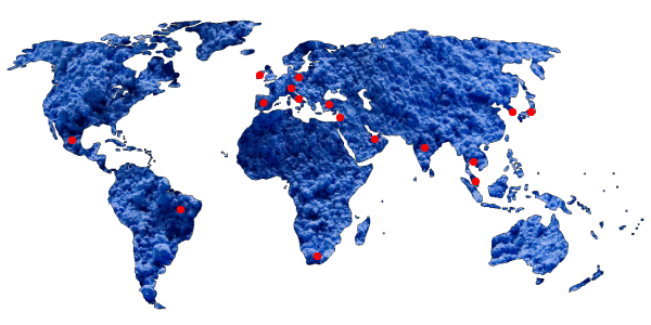 World Map with red dots showing positions of distributors