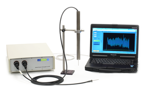 Image showing LFS system - Optical Interrogator box (left), metal probe (centre), laptop (right)
