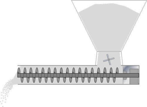 Graphical representation of a Screw Feeder - hopper dispensing powder into tube with screw feeder inside