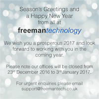Season's Greetings and a Happy New Year from all at Freeman Technology