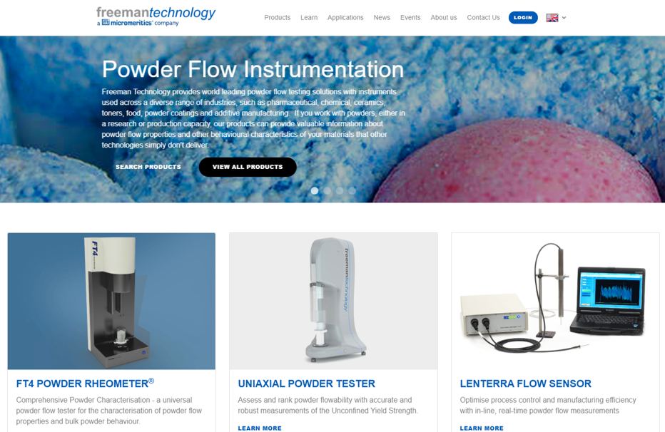 Freeman Technology launches a new website: an unrivalled powder testing resource from the global leaders
