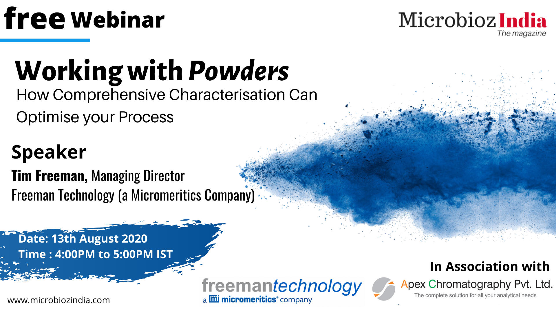 Join our distributors Apex Chromatography for a working with powders webinar